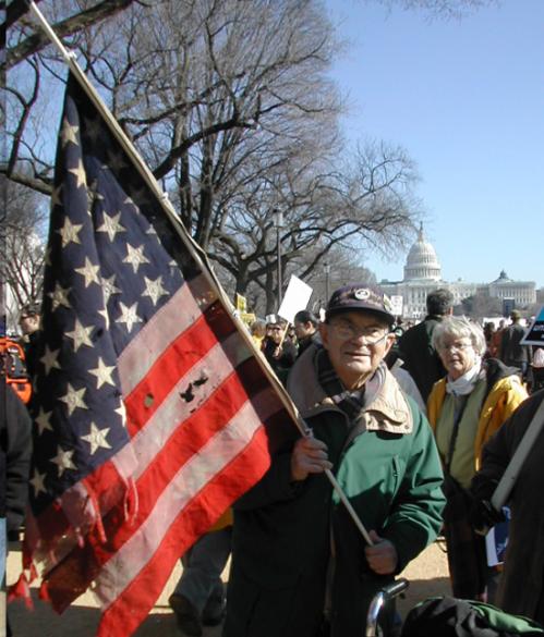 Old Vet protesting future Iraq war, January, 2003