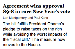 washington post headlines about fiscal cliff