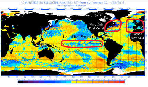 La Nina forming spring 2013 Europe very cold