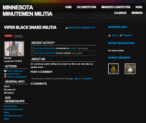 Black Snake Militia in Minnesota web page