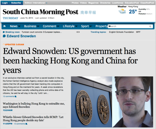 Snowden tells Chinese CIA is spying on them with hackers