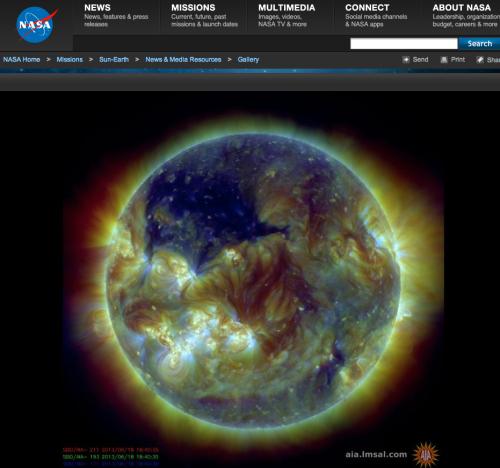 Cold sun: massive coronal hole June 2013