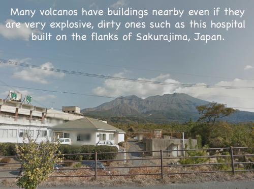 Japanese hospital near Sakurajima volcano