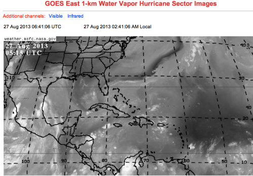 GOES shows dry Atlantic and Gulf of Mexico 2013