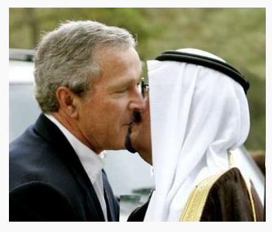 Bush Jr and Bandar kissing