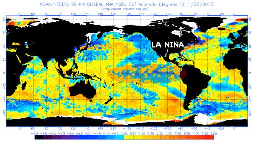 La Nina cold ocean continues 2013
