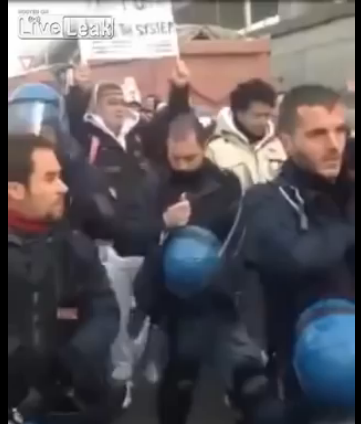 Turin police remove helmets