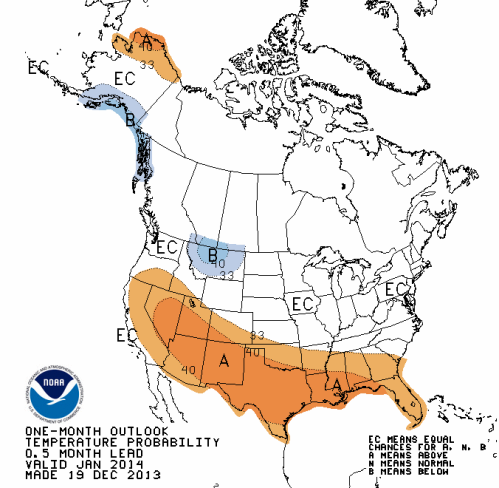 January prediction hot US from NOAA