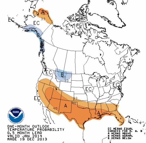 January prediction hot US from NOAA
