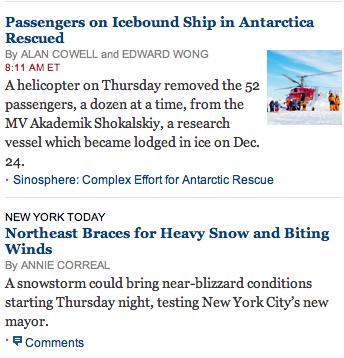 NYT has blizzard 2014 as tiny news story