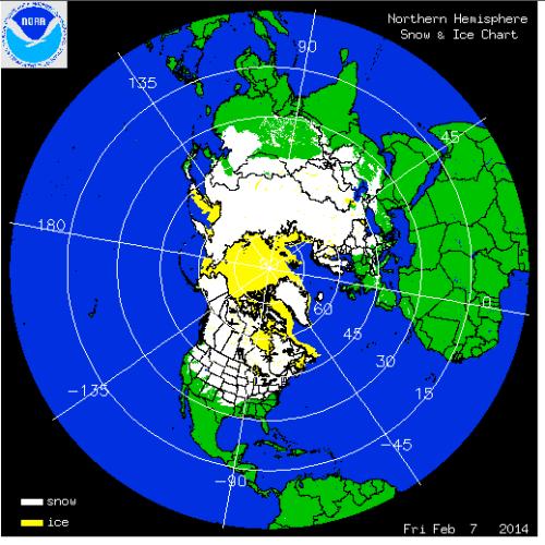 Northern hemisphere snow cover Feb 8, 2014