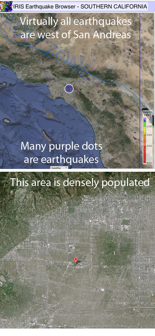 many earthquakes are west of San Andreas as stress builds