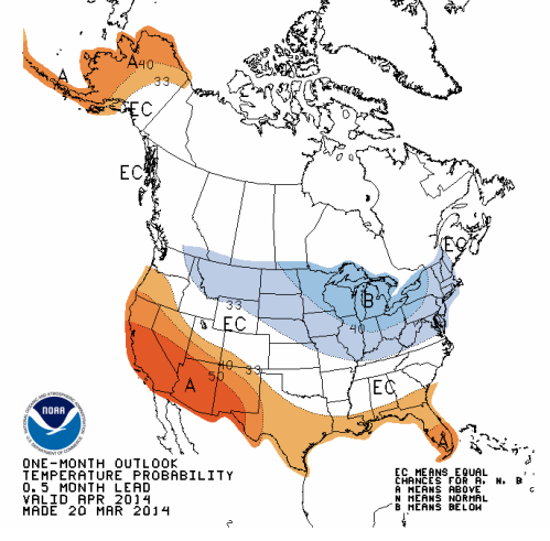 2014 April predictions show very cold northern regions