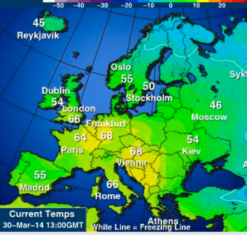 spain colder than london