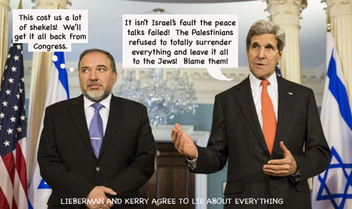 Lieberman and Kerry agree to lie about everything peace talks Palestine