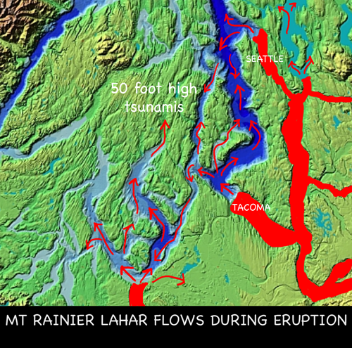 Mt Rainier lahars from eruption will create massive tsunamis
