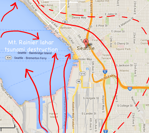 Mt. Rainier tsunami destruction of downtown Seattle
