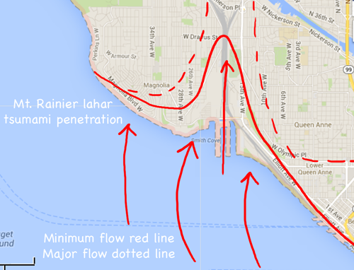 neighborhoods that will be annihilated if Mt. Rainier tsunami hits
