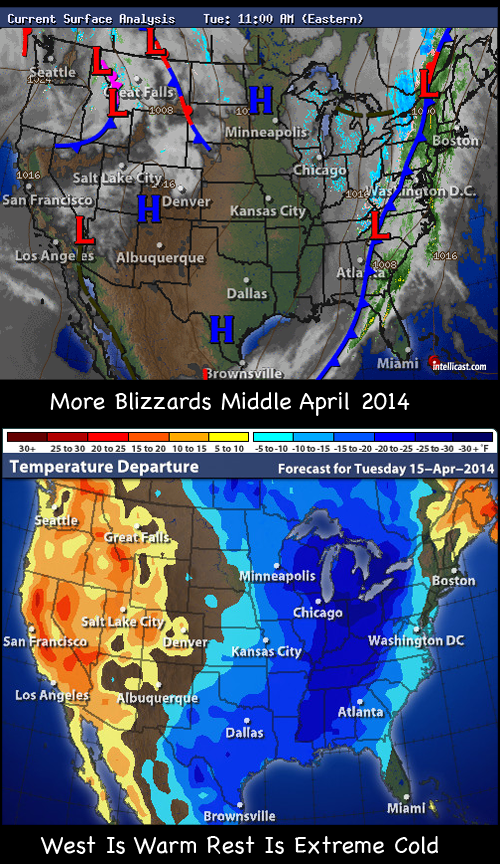 severe cold sweeps across US mid April