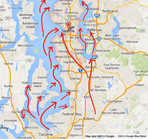 Tacoma and Seattle will be destroyed by lahar tsunami when Mt. Rainier explodes