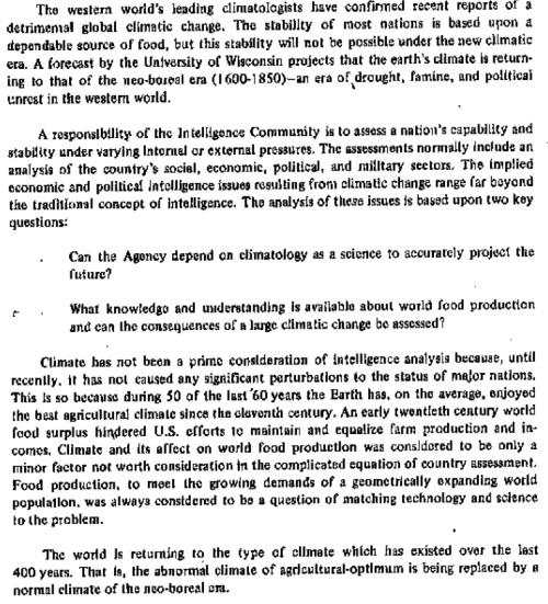 secret 1974 climate report CIA cold planet