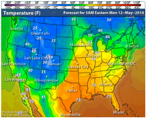 may 12 2014 snow storms unusual cold hammer western US