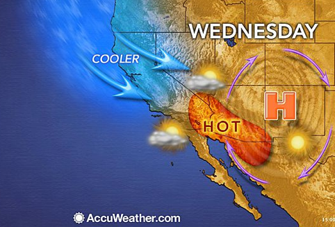a late May cold front pushes warm air into Arizona