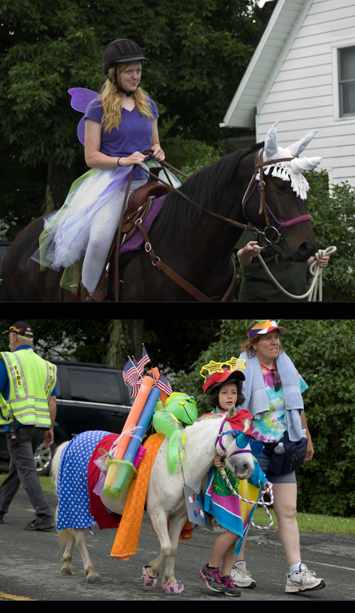 ponies and girls in Berlin NY 4th July parade 2014