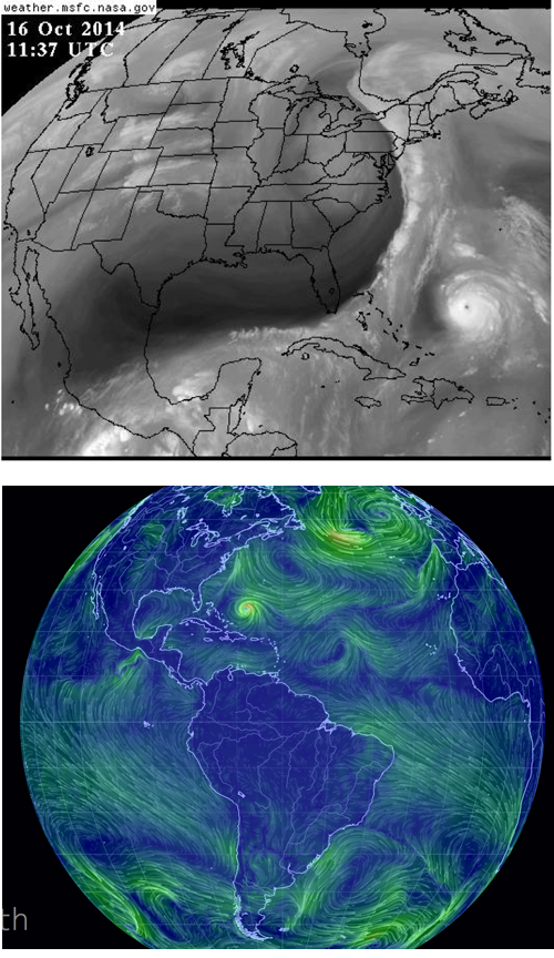 october 2014 wind and hurricanes Atlantic Ocean