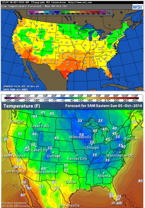 warm cold scales on weather maps totally different colors