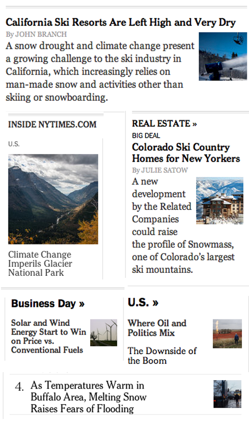 NYT global warming ignoring blizzards
