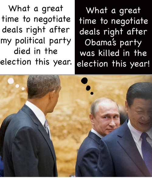 Obama and Putin thinking about the US election 2014