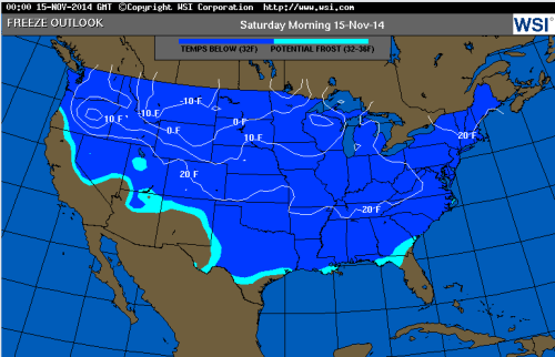 november 13 2014 freeze map