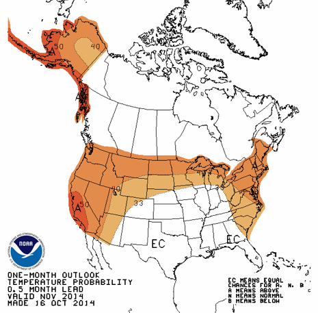 official NOAA map for November 2014