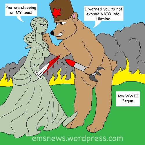 Miz Liberty stomps on Russia bears toes starting WWIII