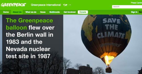 green peace balloon uses gas creates CO2