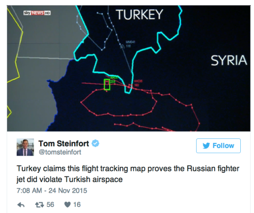 Turkish map showing Russian fighter jet path