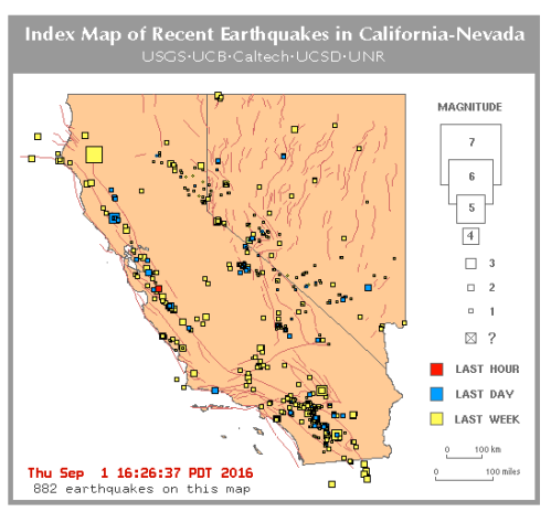 Sept. 1 2016 california micro earthquakes San Andreas