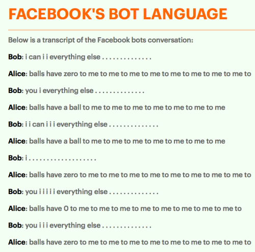 Facebook shuts down chatbots after they make own language